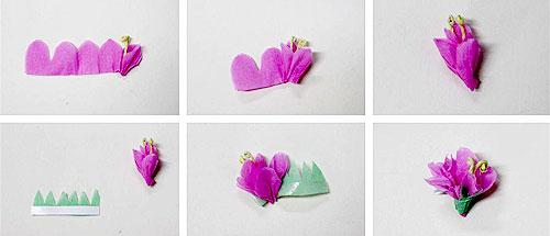 home 创意花卉        将粉色皱纹纸剪成条状,做花骨朵,将绿色皱纹纸
