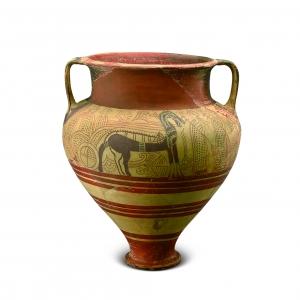 彩绘马车纹陶罐