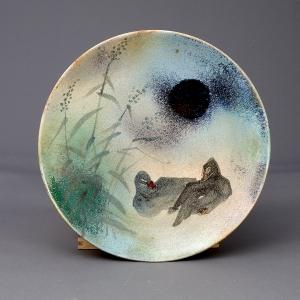 《鸭趣》迷彩釉盘