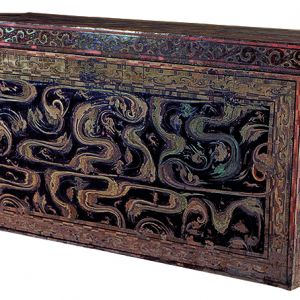 Coffin with painted designs on black lacquer coating